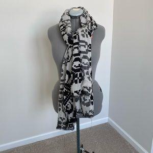Pixel block grey blanket scarf